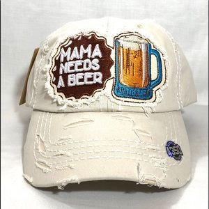 MANA NEEDS A BEER Vintage Baseball Cap White Hat
